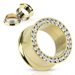 Wholesale Double Flared Gauges - Wholesale 5-16mm 42pcs lot stainless steel anodized gold screw fit CZ double flare saddle ear plug gauges flesh tunnel ear tunnels earlets