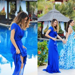 Wholesale Cheap Womens Maxi Summer Dresses - Adorable Womens Cocktail Dresses Long Prom Gowns Royal Blue Chiffon V Neck Capped Short Sleeves Cheap High Quality Maxi Dress 2016 Party