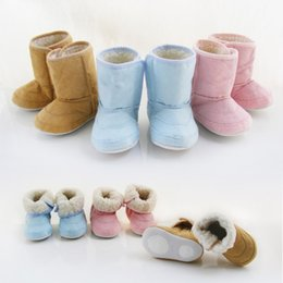 Wholesale Girls Boots Flowers - High Quality Winter Infant Baby Boots Newborn First Walker Shoes Toddler Baby's Boy Girl Cotton Shoes