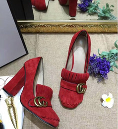 Wholesale Women Brown Oxford Heels - Wholesale Hot selling Women Chunky high heel Pumps with Top quality Genuine leather Dress shoes Brand wedding party sweet single shoes
