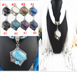 Wholesale Wholesale Rhinestone Necklace Scarf - Rhinestones Pendant Scarf Charms Ring Jewelry Beads Soft Shawl Scarves Necklace Wraps 8 Colors Available FreeDHL E85L