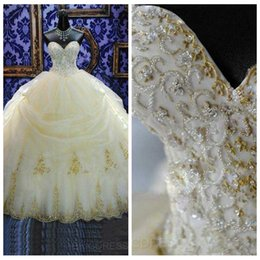 Wholesale White Debutante Dresses Lace - 2017 16 Years Dress Ball Gowns Quinceanera Dresses Lace Appliques Organza Gold Beaded Sequined Masquerade Debutante Gowns Custom Made