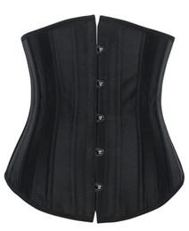 Wholesale Cheap Underbust Corset Plus Size - Wholesale-Hello Tem steel boned corset women Satin underbust lace up waist training bustier top female cheap plus size busk lingerie