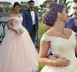 Wholesale Open Back Ball Gowns - Gothic Ball Gown Off Shoulder Wedding Dresses With Tulle Applique Open Back Lace Bridal Gowns Plus Size Women Formal Dresses Party Gown