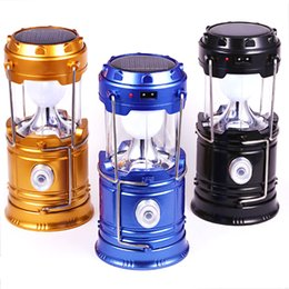 Wholesale indoor outdoor lanterns - Portable Solar Charger Camping Lantern Lamp LED Outdoor Lighting Folding Camp Tent Lamp USB Rechargeable lantern