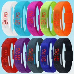 Wholesale Children Candy Bracelet Watch - DHL Sport LED Watches Candy Color Soft Rubber Touch Screen Digital Watches Waterproof Bracelet Wristwatch Gift For Man Women children