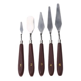 paintings artists Promo Codes - 5pcs set Stainless Steel Palette Knife set Mixed Scraper Set Spatula Knives for Artist Oil Painting