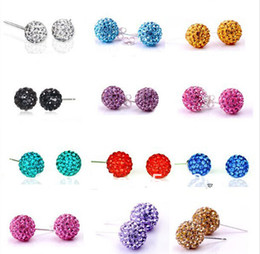 Wholesale Crystal Disco Earrings - 2017 hot sales 925 Silver 8mm 10mm 12mm Shamballa Crystal disco Ball Stud Earrings Swarovski 50pairs lot Mix colors