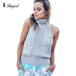 Wholesale Wholesale Sweater Vests - Wholesale- 2017 New Fashion Women Sleeveless Turtleneck Knitted Sweaters Vest Backless Pullovers Female Autumn Winter Sweater pull femme