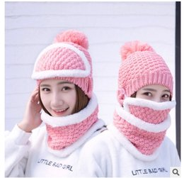 Wholesale Wholesale Women Knit Suits - New Arrivals Winter Warm Women Hat And Scarf Suit Outdoor Cycling Mask Wool Mustache Knitting Cap Ski Balaclava Hair Ball Hats