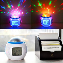 Wholesale Stars Projection - Colorful Music Starry Star Sky Projection projector with Alarm Clock Calendar Thermometer Christmas