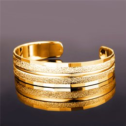 Wholesale Copper Plating Plastic - U7 New Casual Style Cuff Bracelet Jewelry Trendy 18K Real Gold Plated Platinum Plated Bangles Women  Men Jewelry Perfect Accessories