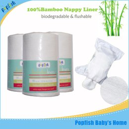 Wholesale Disposable Diapers Nappy - Popfish Free Shipping Disposable Biodegradable Bamboo Viscose Baby Diaper 80 sheets per Roll Flushable Nappy Liners