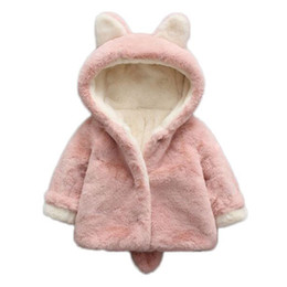 Wholesale Ear Fur Coats - Baby Girls Winter Jackets Warm Faux Fur Fleece Coat Children Jacket Rabbit Ear Hooded Outerwear Kids Jacket for Girls Clothing