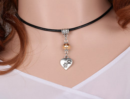 Wholesale Dog Collars Paws - Mind The Dog Paw Prints Charms Vintage Silver Choker Leather Collar Necklaces&Pendants For Women Dress Gift DIY Jewelry S353