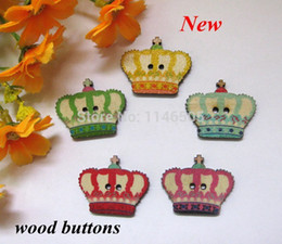 Wholesale Sewing Buttons Crown - Hot 120pcs sale Vintage Imperial crown painted bulk wooden buttons for craft Scrapbooking products sewing Accessory 26*31MM