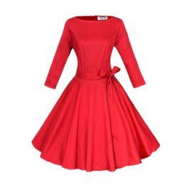 Vestido al por mayor de tres cuartos online-Al por mayor-Mujeres Pinup Vintage Retro Rockabilly Club Dress Tallas grandes Vestidos largos Tres cuartos manga vestido de bola negro
