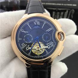 Wholesale Man Moon Watch - Free shipping watches men luxury brand Tourbillon Genuineleather wristwatch 2017 luxury brand mens automatic mechanical movement watch