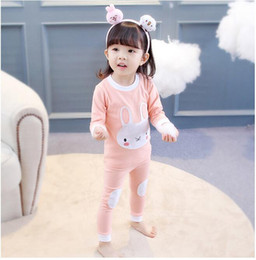 Wholesale Girls Cotton Nightwear - Girl Pajamas sets Baby Long Sleeve Rabbit Whale Printed Pajamas suits Clothing Kids Autumn Nightclothes Suit Two pieces Christmas Nightwear