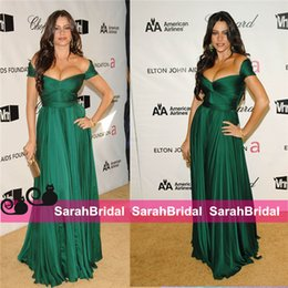 Wholesale Sexy After Dresses - Sofia Vergara Oscar After Party Emerald Green Chiffon Celebrity Evening Gowns Red Carpet Formal Women Wear For 2016 Special Occasion Gowns