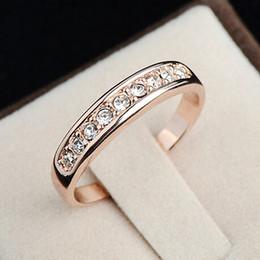 Wholesale Wholesale Jewelry 925 Usa - Wholesale-925 sterling silver jewelry new trendy 18K Champagne pink gold filled AAA Swiss CZ Diamond wedding Ring women alliance USA size