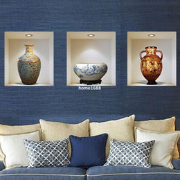 Wholesale Design Ceramic Vase - Chinese style ceramic vase vinyl wall stickers home decor decoration room promotion 3d set of three wall sticker Z-002
