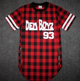 Wholesale Pyrex Kanye - Wholesale-Kanye West Style Tyga Cool Oversized Gold Side Zipper T-Shirt Men Hip Hop Extended Red Tartan Plaid T Shirt Hba Pyrex Shirt
