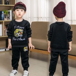 Wholesale Kids Leopard Trousers - Baby boy Clothing Sets autumn tiger print Kids suit Gold velvet baby suit set boy Casual long sleeve shirts sweatshirts+trousers 90-130cm