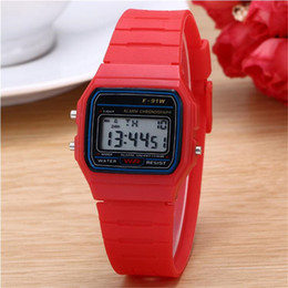 Wholesale Square Luminous Watch - Luxury F91W Sport Watches Multifunction Luminous Led Digital Wristwatch Candy Color Water Resist Wacthes Students Gift Watch