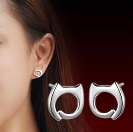 Wholesale Cat 925 Earrings - 2016 Popular 925 sterling silver jewelry cute little lazy cat fashion earrings Hollow cat stud earrings for women