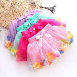 Wholesale Mini Bow Lace Dress - Girls TUTU petti skirt summer lace & bow&petal decoration skirt kids dress Straight short skirts