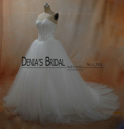 Wholesale Boned Bodice Bridal Dress - Real Ball Gown Wedding Dresses 2016 Beaded Boned Bodice with Puffy Princess Tulle Court Train Bridal Gowns