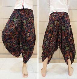 Wholesale Mens Paisley Pants - Wholesale-Top Design Paisley Low Dropped Crotch Linen Harem Pant Mens Fashion Loose Casual Summer Brand Beach Trousers 2015