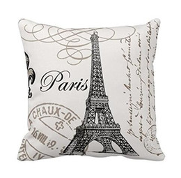 Wholesale Vintage Eiffel Tower - Vintage Paris eiffel tower pillow cushion cover Pillow Case home decoration chair decoration for Home Decor Sofa Pillowcase