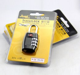 Wholesale Tsa Combination Padlock - Free Shipping Resettable 3 Digit Combination Padlock Suitcase Travel coded Lock TSA locks Luggage Padlock nice gift