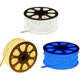 Wholesale Wire Ribbon Led Lights - 100M LOT 2835 60LED 220V Led Strip Light Red Yellow Blue Green White Waterproof LED Light IP65 Flexible Ribbon For Home
