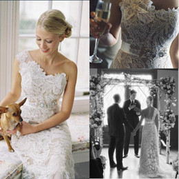 Wholesale One Shoulder Bridal Wedding Gown - 2015 Lace Wedding Dresses Vestido De Noiva Romatic One Shoulder Illusion With Crystal Sash Backless Bridal Gowns Formal Wedding Gowns BO7143