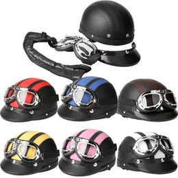 Wholesale Bike Visor - Men Women Motorcycle Helmet Open Face Bike Bicycle Helmet Scooter Half Leather Helmet with Visor Goggles Retro 54-60cm
