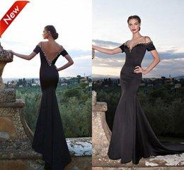 Wholesale Tarik Ediz Gowns - Spring 2015 Black Mermaid Evening Dresses Tarik Ediz V-Neck Straps Evening Gowns Backless Short Sleeves Beaded Neck Court Train Party Dress