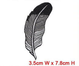 Wholesale Embroidery Garment - fashion feather patch wholesale free shipping iron on or sew on any garment hat bag computer embroidery factory