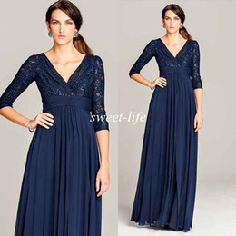 Wholesale Empire Waist Mother Bride - Dark Blue Plus Size Mother of the Bride Dresses Vintage with Sleeves Sequins Empire Waist Chiffon 2016 Formal Occasion Dresses Evening Gowns