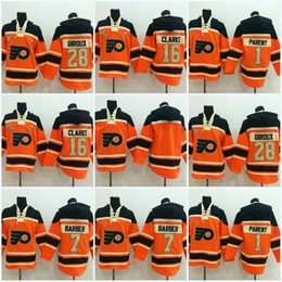 Wholesale Bobby Clarke Jersey - #28 Claude Giroux Philadelphia Flyers Jersey #16 Bobby Clarke #1 Bernie Parent #7 Bill Barber Blank #Men's Hoodie Sweater Hockey Jersey