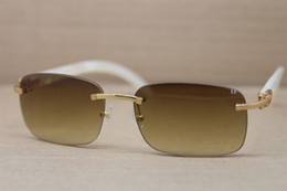 Wholesale Pearl Cat Eye Glasses - 2017 New Rimless 8200759 Original Mother of pearl Sunglasses Women Men luxury brand Glasses Frame Size:60-18-140mm