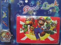 Wholesale Super Mario Cartoon Watch - New Free shipping 15pcs lot children Cartoon watch Super Mario cute kids watch Wrist watch with purses Wallet