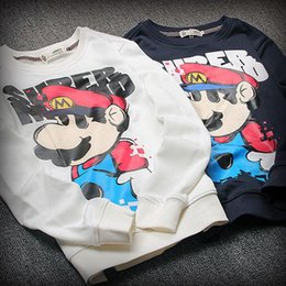 Wholesale Mario Sweater - Korean men's fall and winter high-quality cotton round neck long-sleeved sweater European and American style of Super Mario sweater jacket