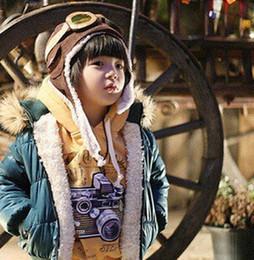 Wholesale Boys Pilot Hat - winter earflap caps child warm hats kids pilot airforce caps children hats boys flight caps warm earflap hats winter warm cap free shipping