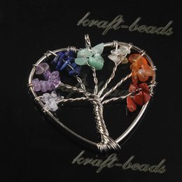 Wholesale Stainless Steel Heart Shaped Necklace - wholesale 10Pcs Silver plated natural stone chakra of the tree of life heart-shaped pendant