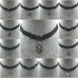 Wholesale Wholesale Black Elastic Necklaces - Handmade Hot Selling Vintage Stretch Tattoo Choker Necklace Gothic Punk Grunge Henna Elastic Pendant Necklaces Free shipping
