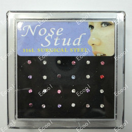 Wholesale Nose Rings Studs Crystal - 24Pcs Set Wholesale 316L Surgical Steel Crystal Nose Studs For Women Fashion Jewelry Bulk Lots LR224