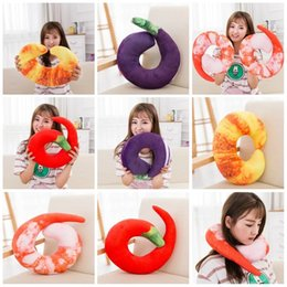 Wholesale Bones Pillow - Cartoon Bolster Creative Plush Peeled Prawns U Shaped Pillow For Kid Birthday Gift Many Styles 9 5rx C R